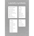 Laundry symbols labels on gray background vector image