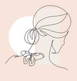 line drawing abstract face with flowers and vector image
