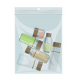 liquid cabin size plastic bag with cosmetics vector image
