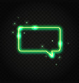 neon green rectangle speech bubble with space for vector image