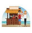 peoplea at beach kiosk vector image vector image