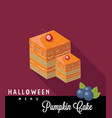 pumpkin cake halloween menu vector image