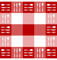 Red tablecloth texture with cutlery pattern vector image vector image