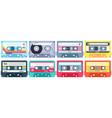 retro music cassette stereo dj tape vintage 90s vector image vector image
