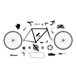 Road bicycle parts and accessories silhouette set vector image vector image