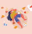 sad fat woman eating fast food lying on floor vector image