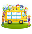 school bus with school timetable vector image vector image