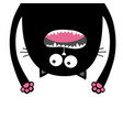screaming cat head silhouette hanging upside down vector image