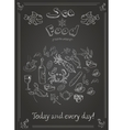 set hand drawn seafood on blackboard vector image vector image