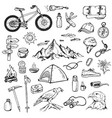 Set of mountain camping icons vector image