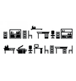 Set of office furninure icons pictograms vector image