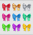 shiny decorative gift bows with ribbons vector image vector image