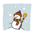 snowman on a snowy winter day vector image vector image