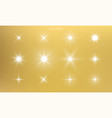 star shine golden light glow sparks bright gold vector image
