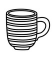 striped coffee cup ceramic icon thick line vector image