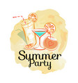 summer party poster with cocktails invitation card vector image vector image