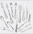table setting set fork knife spoon sketch cutlery vector image