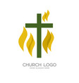 the cross of jesus and the flame vector image vector image