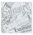 The Pros and Cons of Cosmetic Surgery Word Cloud vector image vector image