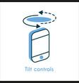 tilt controls flat line icon vector image