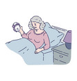 tired senior woman lie in bed and hold alarm clock vector image vector image