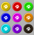 trace dogs icon sign symbol on nine round vector image