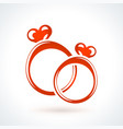 two red wedding rings st valentines day design vector image
