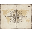 Vintage Nautical Compass Old World Map on vector image