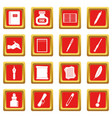 writing icons set red vector image vector image