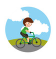 young boy in bicycle isolated icon vector image vector image