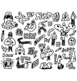 rap hip hop - doodles set vector image