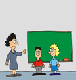 Teacher boy and girl in classrom vector image