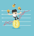 businessman trying to stand a dollar coin eps10 vector image