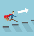 businessman with red cape running on stairs vector image