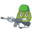 army artichoke character cartoon style vector image