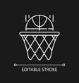 basketball white linear icon for dark theme vector image