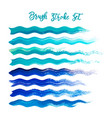 blue brush stroke waves set hand drawn vector image