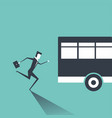 business man in suit is running after outgoing bus vector image vector image