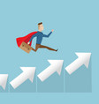 businessman in red cape running on arrow stairs vector image