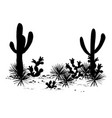 cacti landscape silhouettes vector image vector image