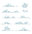 cartoon clouds smoke stone snow and boulders set vector image vector image