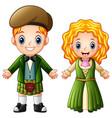 cartoon ireland couple wearing traditional costume vector image vector image