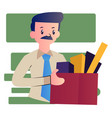 cartoon man with mustache on white background vector image vector image