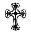 christian cross drawing blak vector image