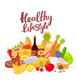 colorful natural products with text on wh vector image