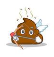 cupid poop emoticon character cartoon vector image