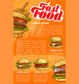 fast food burger and drink menu banner template vector image vector image