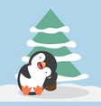 funny penguin cartoon confuse with tree vector image vector image