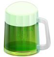 glass mug green beer ale saint patricks day vector image vector image