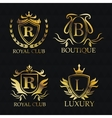 Gold emblem icon set design vector image